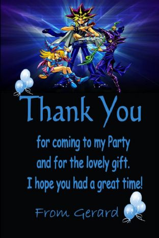 Personalised Yu-Gi-Oh Thank You Cards